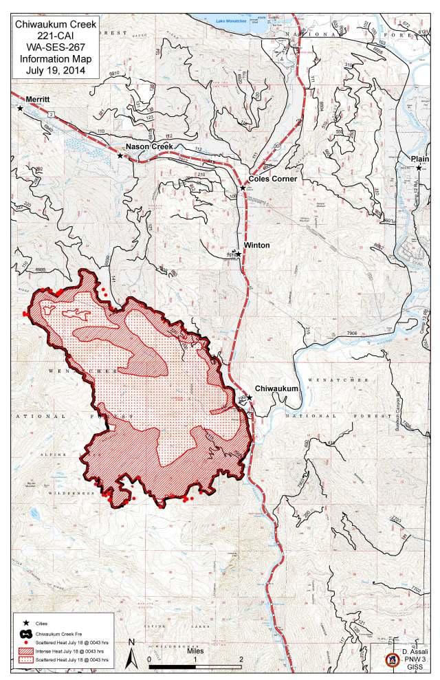 Chiwaukum Creek Fire Information Map