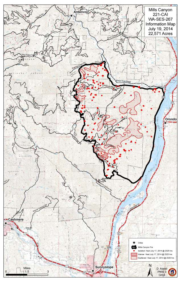 Mills Canyon Fire Information Map